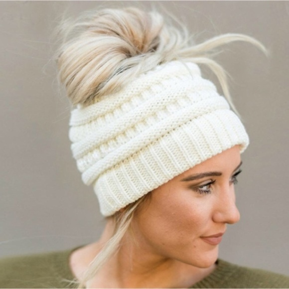 C.C messy bun beanie ponytail winter hats 62d69557186
